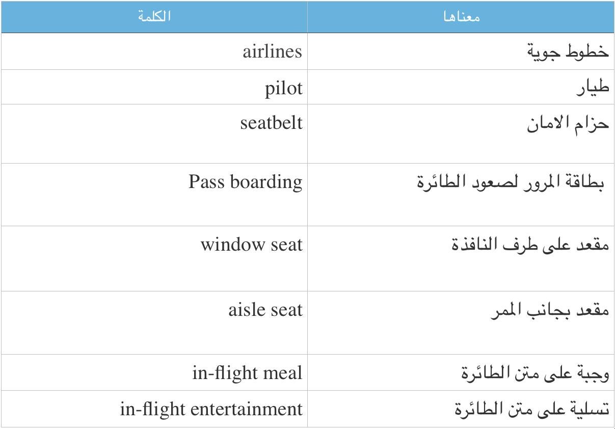 كلمات انجليزية للطائرة
